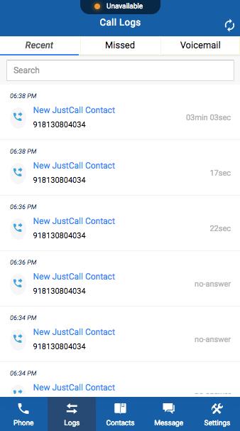 justcall dialer call logs