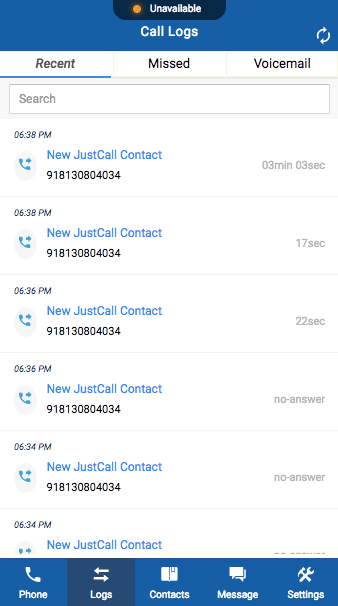 justcall dialer call logs