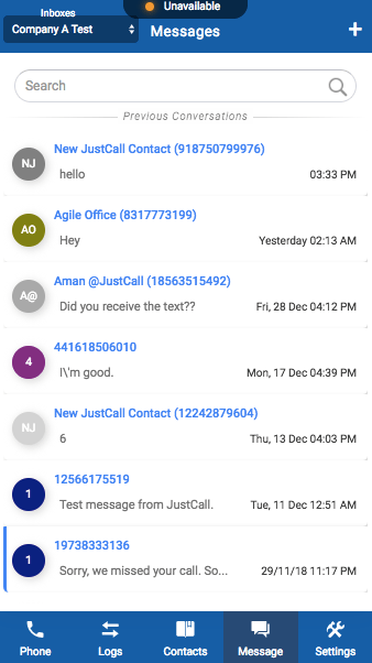 justcall dialer messages