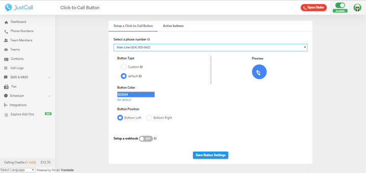 click-to-call settings page view