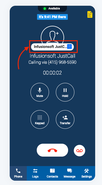intercom inbound call