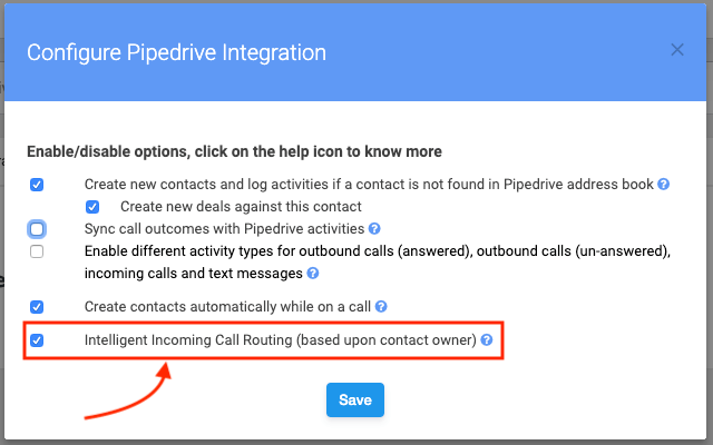 Pipedrive justcall settings