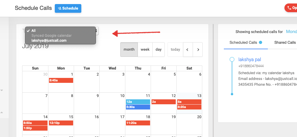 Show events synced from Google Calendar