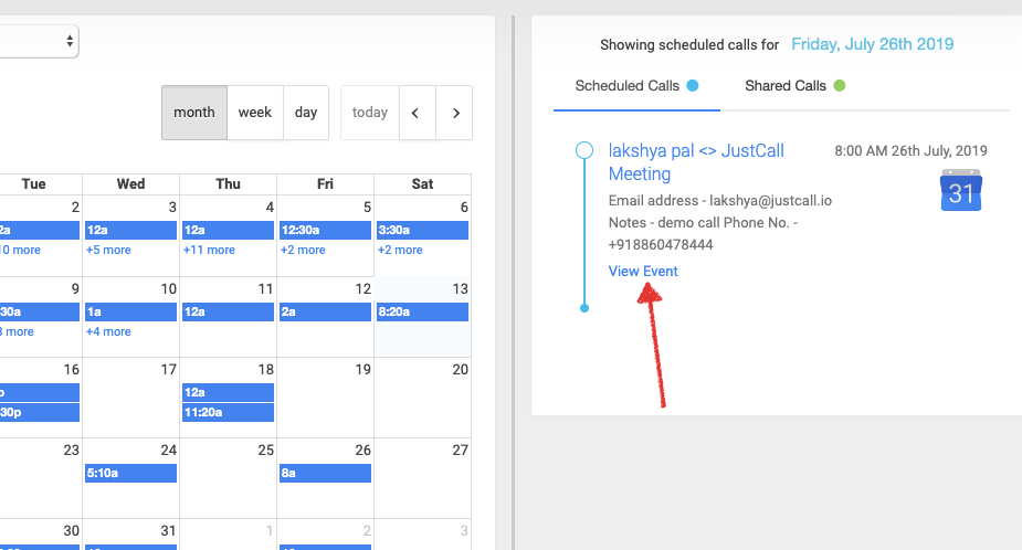 Access events directly on Google Calendar