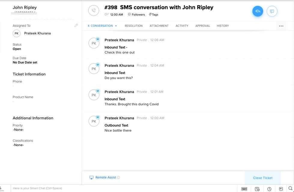 Log text messages same ticket on Zoho Desk