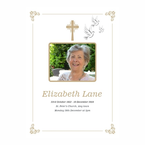 order of service template Doves And Cross