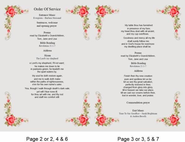 order of service template Rose border