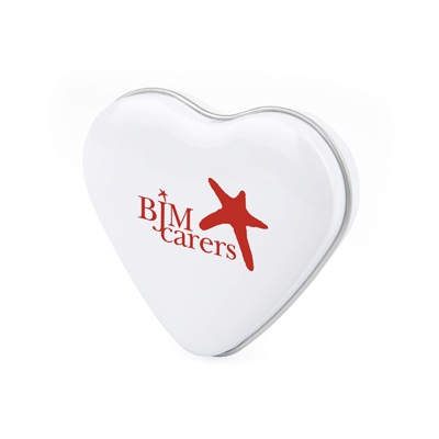 promo printed heart tins