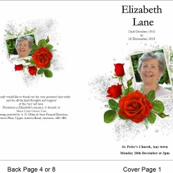 order of service template Red Rose Theme
