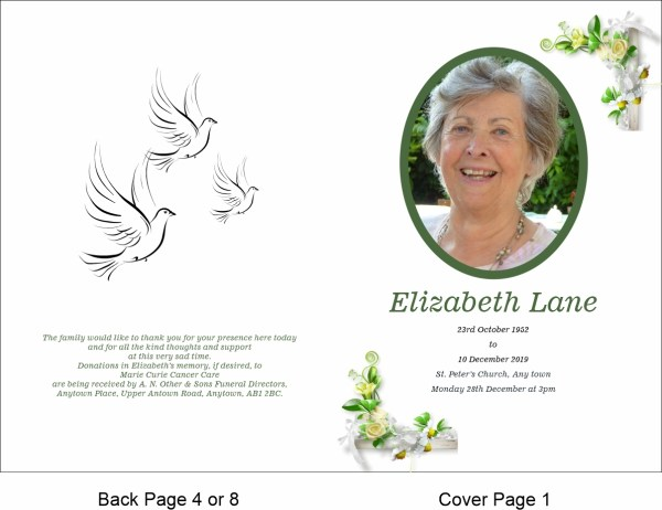 order of service template Small White Rose Theme