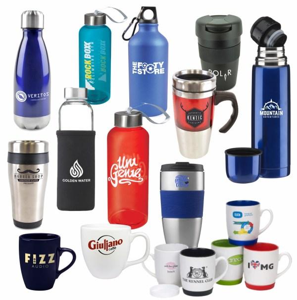 Promotional mugs flasks bottles