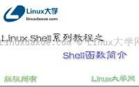 Linux Shell脚本入门教程系列之(十五) Shell函数简介