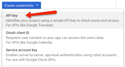 创建Google API Key, Creating a Google API Key
