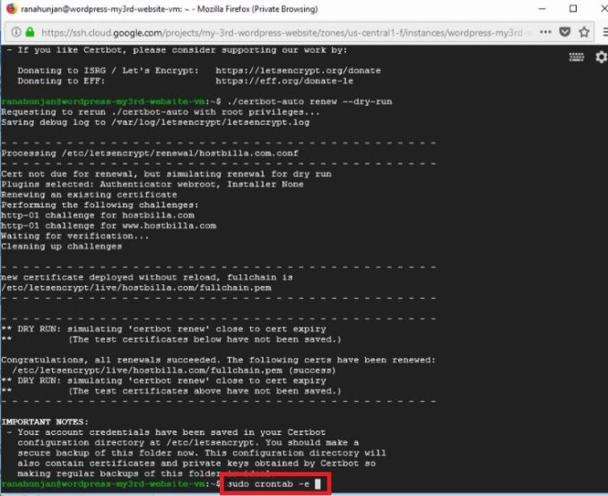 网站免费启用 HTTPS, 免费安装SSL证书, Free SSL Certificate Setup for WordPress on Google Cloud (Click-to-Deploy), 免费certbot说明