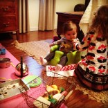 Lola and Olive playing tea party.