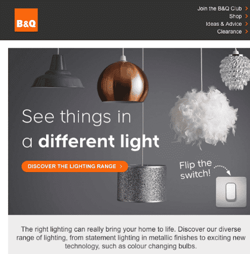 Interactive light switch - Email Design Trends 2021