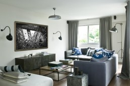 A touch of blue softens this masculine space