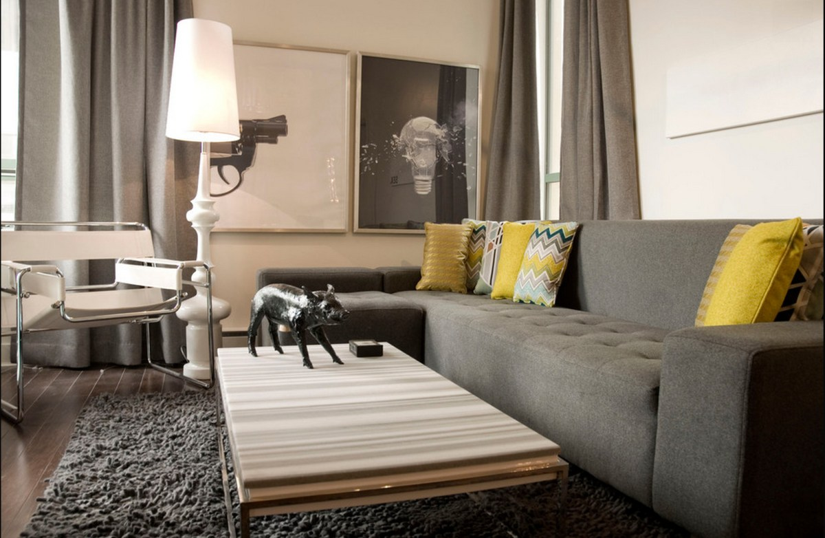 Modern Decor Gray Couch Walls
