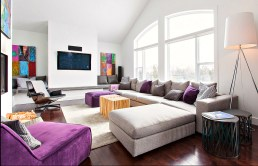 Contemporary decor using grey furnishings and purple accessories