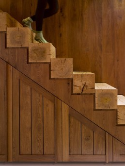 Great idea of wood stairs - make sure it meets building code
