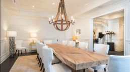 Contemporary design with raw wood dining table