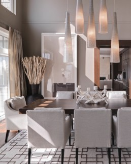 Contemporary dining room using shades of grey