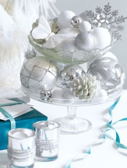 White and silver serving Christmas decor