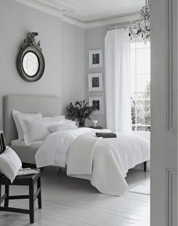 Soft and delicate dove grey bedroom