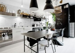 Lighting, backsplash and open shelving make this kitchen bistro style