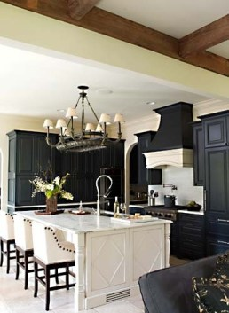 Traditional styled black cupboards
