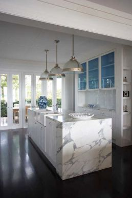 Pop of blue utilizing interior cabinets
