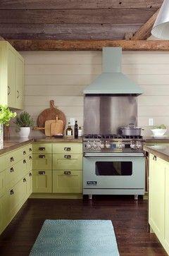 green blue kitchen cupboards