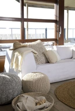 Natural weaved shapes with heavy textures are prominent in Coastal design