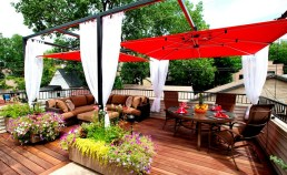 Umbrellas can add shade and privacy in an outdoor setting