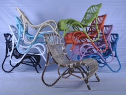 Additional colorful seating.