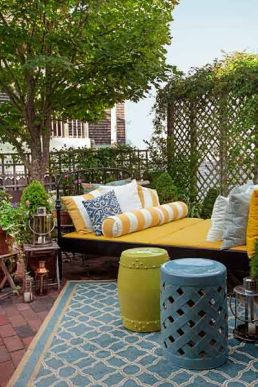 Use garden stools for additional seating and tables