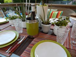 Milk white with succulents act as decorative table setting