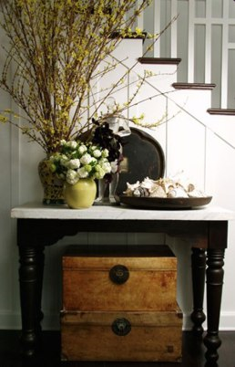Traditional hallway vignette with storage