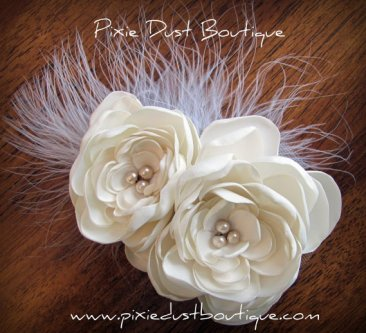 Wedding/Bridal accessory- Ivory Satin Double Peonies w/champagne pearls, feathers, hair fascinator
