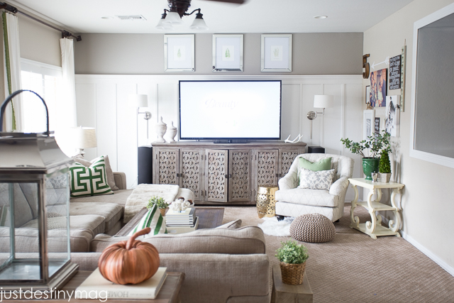 Green and Gray Family Room Inspirationl -Just Destiny_