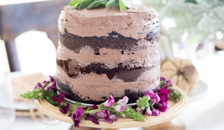 Delicious Chocolate Naked Cake for Fall