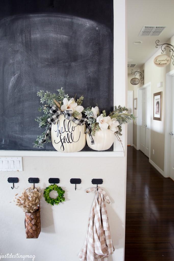 DIY Hanging Half Pumpkin Craft - Just Destiny - tutorial in blog post