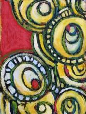 "Yellow Circles, oil on panel, 16 x 12"""