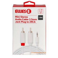 Ellies Mini Stereo Audio Cable 3.5mm Jack Plug to 2 RCA