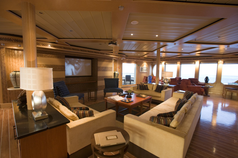 Nomade Yachting by Bora Bora Cruises living room on the water inside