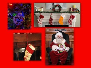 ornament, stockings on a mantle, santa holding a picture frame of a child