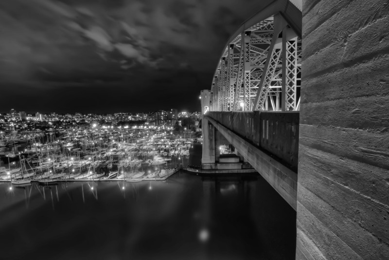 This is the Burrard Bridge looking south at night. As I took this in the summer it was pretty late, say ten or eleven o'clock. Even so people were walking or riding their bikes across this bridge to get from one part of the city to the other. That fascinates me, that so many people in this city walk and cycle rather than drive regardless of the weather or time of day. Maybe that's why everyone looks so fit.