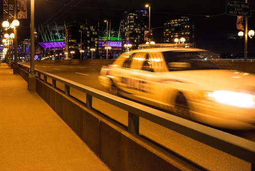 I shot this last week while walking across the Cambie Bridge to my hotel in Vancouver. Reminded of a ride-along I did not too long ago in my home town. I was amazed at how much goes on when the rest of us are asleep, and I live in a small town. In any case, I didn't even know I captured this until I looked the next day. Nonetheless, it's nice to know that all the things that happen while we sleep are looked after by these men and women in blue. God speed.