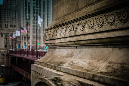 I, and millions of others, love this section of Chicago. It's an animated conversation between the past and present. This is the DuSable Bridge which leads to the Magnificent Mile in one direction and the