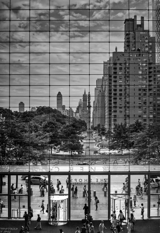 While in New York we stopped in here at Columbus Circle for a little snack after a day of walking and sightseeing.  While I was working on a cookie I noticed this perspective from inside the ultra modern Time Warner Center out onto the older architecture of Central Park South. If I went back in time fifty or sixty years I could imagine a very similar scene as these buildings (at least from the outside) have changed very little. But alas I awoke from my time travel reverie to check my e-mail and send a text. It seems to me that I stood here somewhere in time between eras with a little bit of both mixed together. And all of this from a building that begins with the word